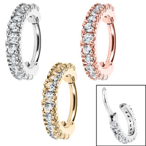 Steel 2.2mm Pave Set Jewelled Edge Hinged Clicker Ring