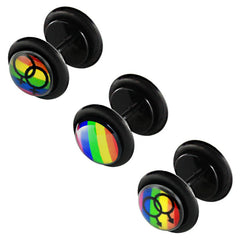 view all Acrylic Logo Fake Plug - Rainbow body jewellery