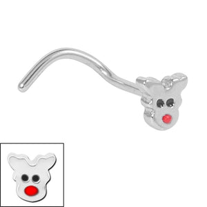 Steel Rudolph the Red Nose Reindeer Nose Stud