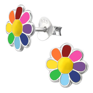 Sterling Silver Rainbow Flower Ear Stud Earrings
