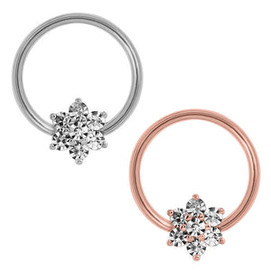 Steel BCR with Steel Claw Set Jewelled Flower - Nipple Ring