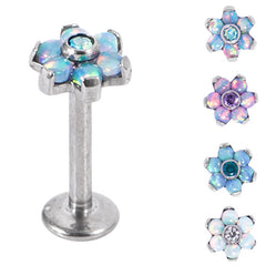 view all Titanium Internally Threaded Labrets 1.2mm - Titanium Claw Set CZ Jewelled and 6 Point Synth Opal Flower body jewellery