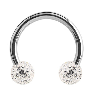 Steel Circular Barbell (CBB) (Horseshoes) with Glitzy Balls 1.2mm