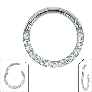 Steel Hinged Pave Set Eternity Clicker Ring