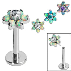 view all Titanium Threadless Labrets - Titanium (Bend-fit) Claw Set Synth Opal and CZ Jewelled Flower body jewellery
