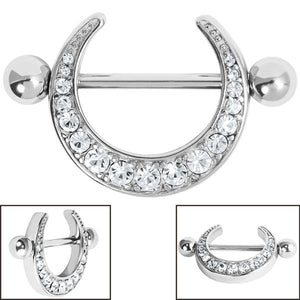 Steel Jewelled Crescent Moon Nipple Shield with Steel Bar