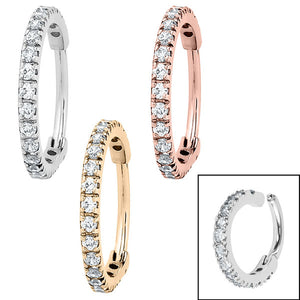Steel 1.7mm Pave Set Jewelled Edge Hinged Clicker Ring