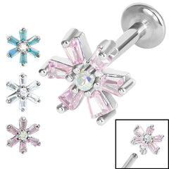 view all Titanium Internally Threaded Labrets 1.2mm - Steel Claw Set CZ Lily Flower body jewellery