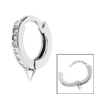 Surgical Steel Jewelled Huggie Clicker Ring with Spike