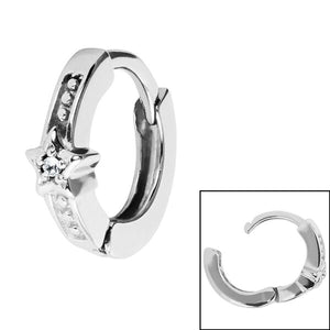 Surgical Steel Jewelled Star Huggie Clicker Ring