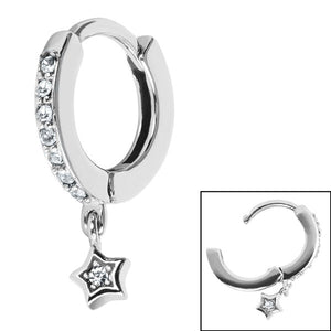 Surgical Steel Jewelled Huggie Clicker Ring with Jewelled Star Dangle