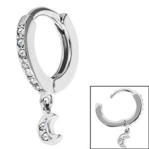 Surgical Steel Jewelled Huggie Clicker Ring with Jewelled Moon Dangle