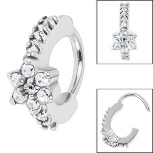 Steel Claw Set Jewelled Flower Hinge Nose Clicker Ring