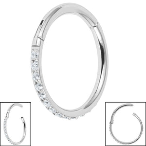 Titanium 1.2mm Pave Set Jewelled Edge Hinged Clicker Ring
