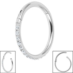 view all Titanium 1.2mm Pave Set Jewelled Edge Hinged Clicker Ring body jewellery