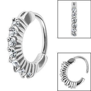 Steel Pave Set Jewelled Edge Hinge Nose Clicker Ring