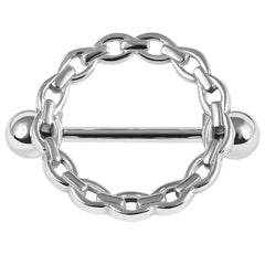 view all Steel Solid Chain Nipple Surround with Steel Bar body jewellery