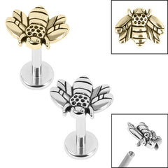 view all Titanium Internally Threaded Labrets 1.2mm - Steel Honey Bee body jewellery