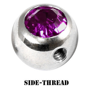 Steel Side-threaded Jewelled Balls 1.6x8mm