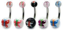 view all Acrylic Butterfly Belly Bars body jewellery
