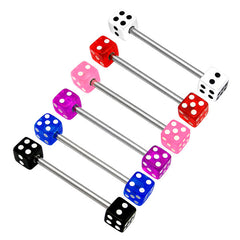 view all Acrylic Double Dice Barbell 1.6mm body jewellery