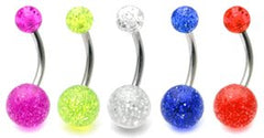 view all Acrylic Glitter Belly Bars body jewellery