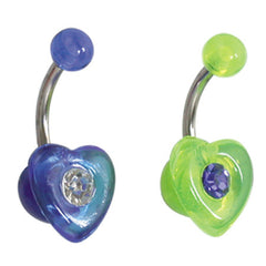 view all Acrylic Heart Belly Bar body jewellery