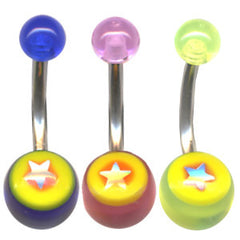 Acrylic Shiny Star Belly Bar