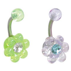 Acrylic Wildflower Belly Bar