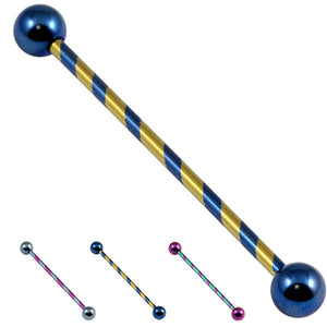 Titanium Candy Stripe Industrial Scaffold Barbell 30-40mm