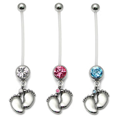 view all Pregnancy Belly Bars Baby Feet (PTFE) body jewellery