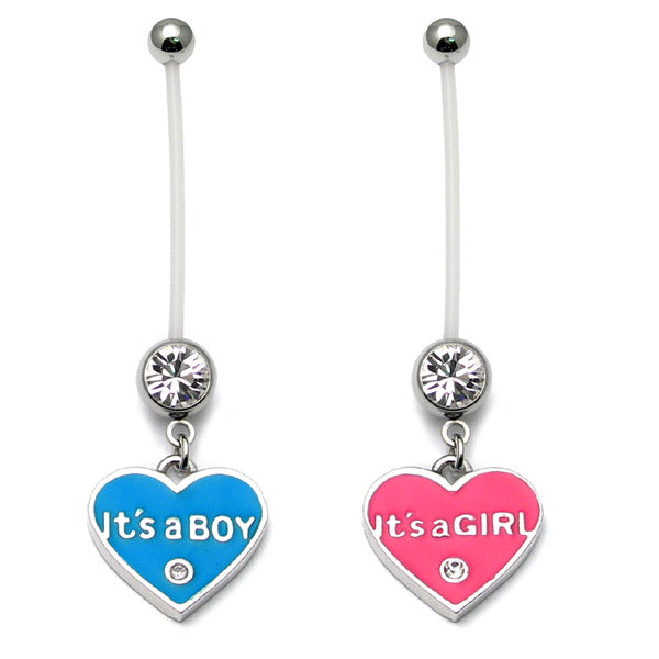 Pregnancy Belly Bars It's a Boy Girl (PTFE)