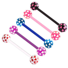 view all Acrylic Multi-Heart Flex Barbell (NEW) body jewellery
