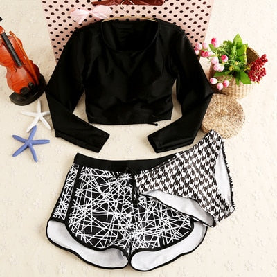 3 Pieces Black Padded Long Sleeve Bikini Suit