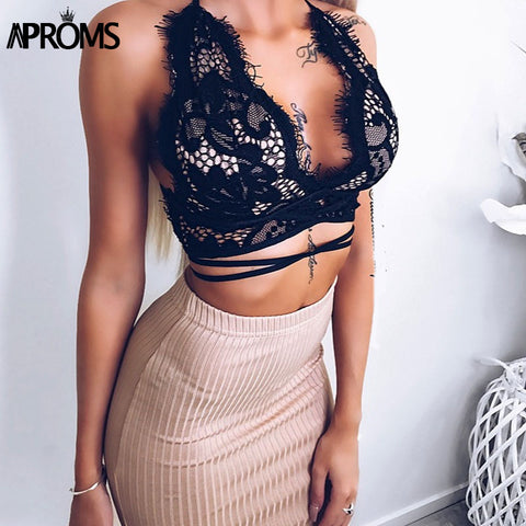 Deep V neck Sweet Lace Crochet