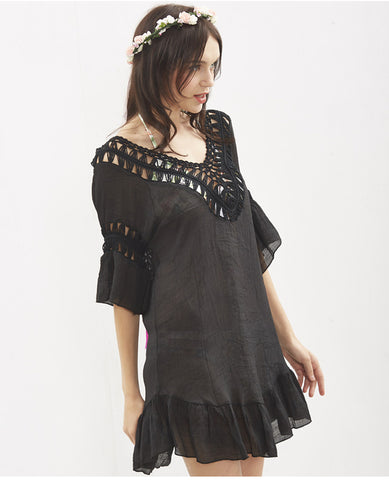 Tassel & Ruffles Backless Cover Up