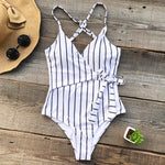 Stay Young Stripe Deep V Neck One Piece Suit