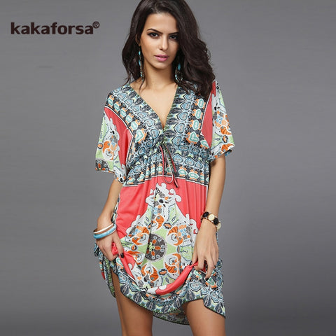 Deep V Neck Beach Loose Cover Up