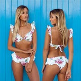 Pad Vest Ruffle Shoulder Low Waist Bikini Set