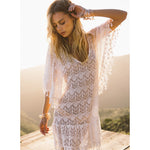 White Crochet Tassel Robe Cover Up