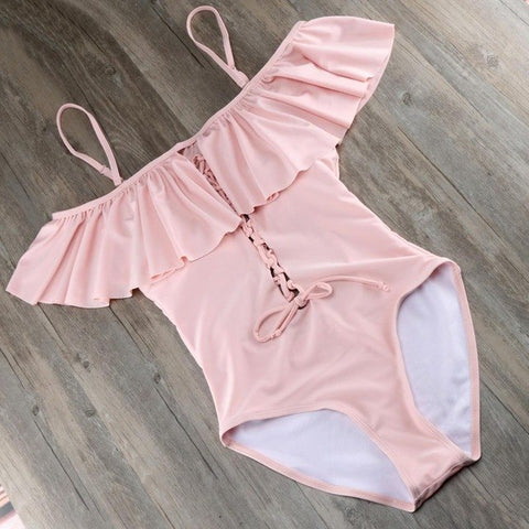 Off Shoulder Push Up One Piece Suit