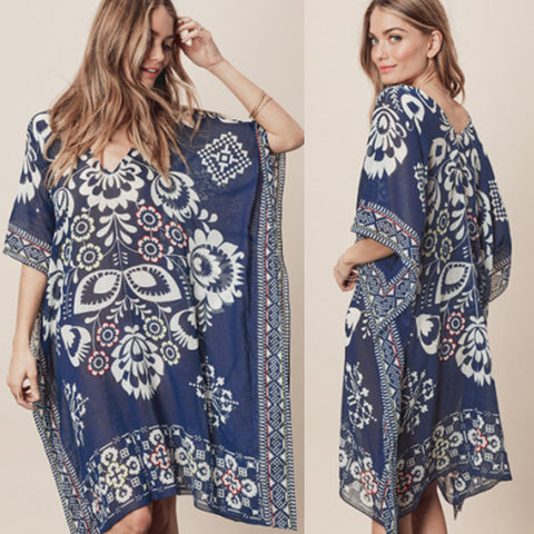 Navy Flowers Chiffon Neck Loose Cover Up
