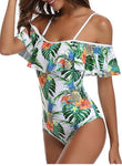 Off the Shoulder Ruffles Print One Piece Suit