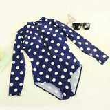Polka Dot Long Sleeve Bikini Suit