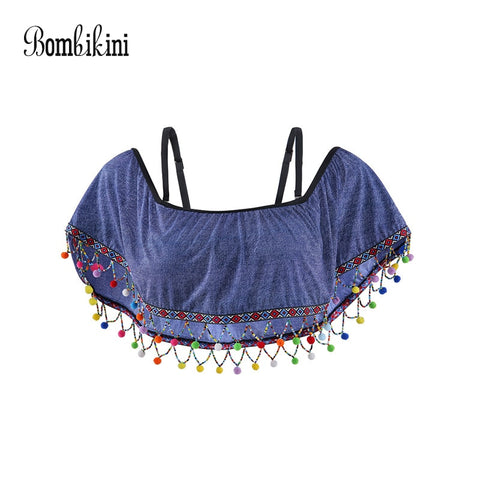 Retro Push Up Off Shoulder Bikinis Top