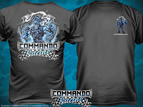 "COMMANDO RACING ""ICE BLUE"" ON GRAY"