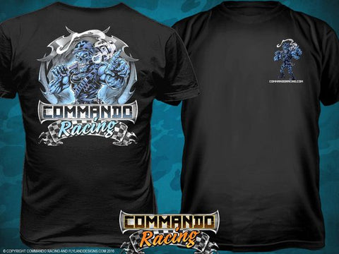 "COMMANDO RACING ""ICE BLUE"" ON BLACK"