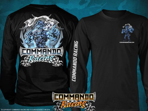 """COMMANDO RACING ""ICE BLUE"" LONG SLEEVE T-SHIRT BLACK"