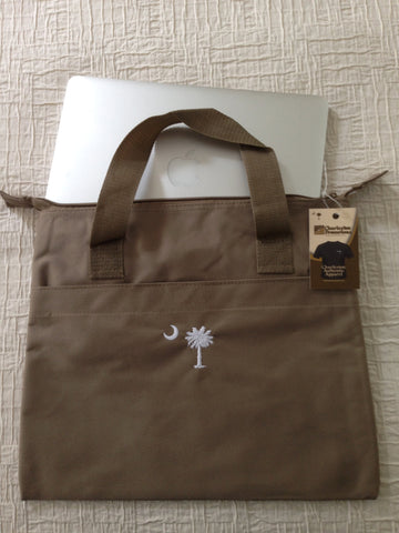 Palmetto and moon embroidered Canvas Computer tote