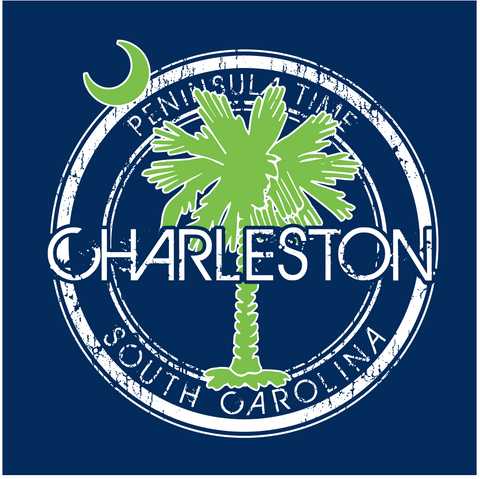 Charleston with SC Palmetto Peninsula Time Design Decal